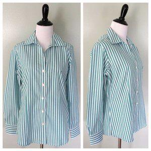 FOXCROFT Turquoise White Striped Button Shirt